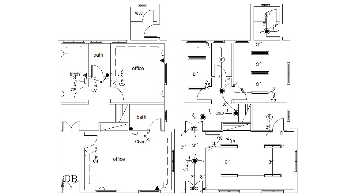 Office Electrical Layout Plan Autocad Drawing Cadbull