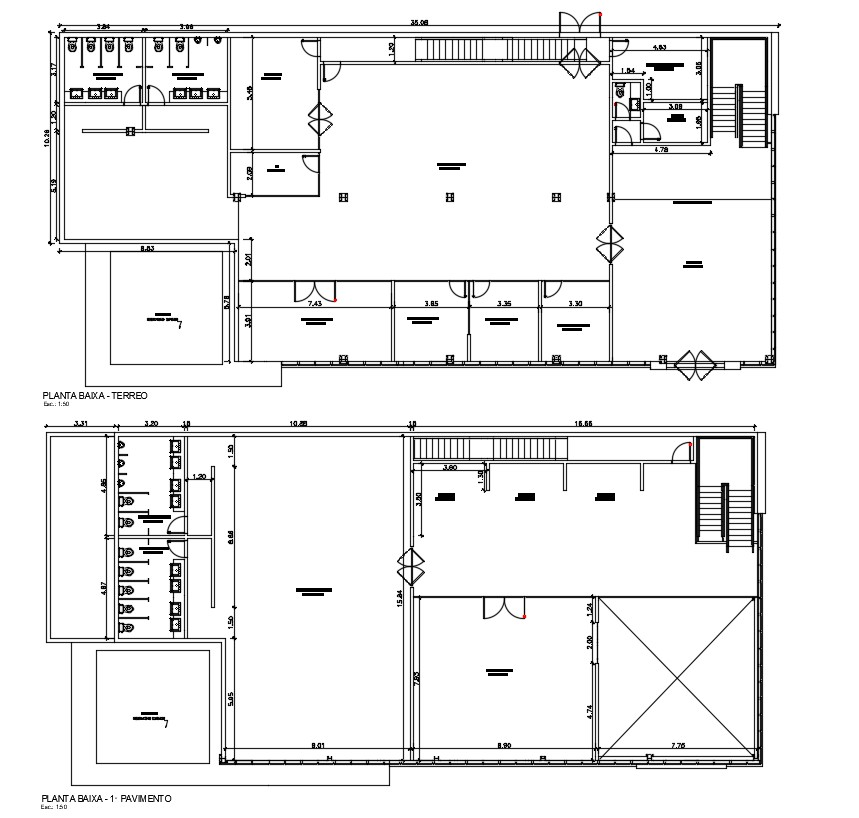 Office Floor Plan With Dimension DWG File