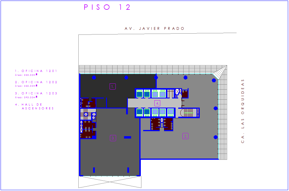 Office architectural view with twelve number floor plan dwg file