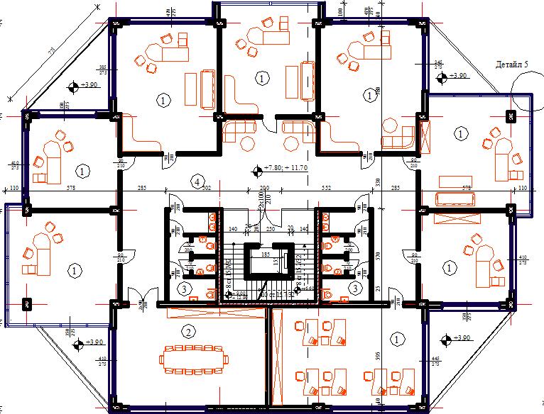 Office building 3 floors layout plan dwg file