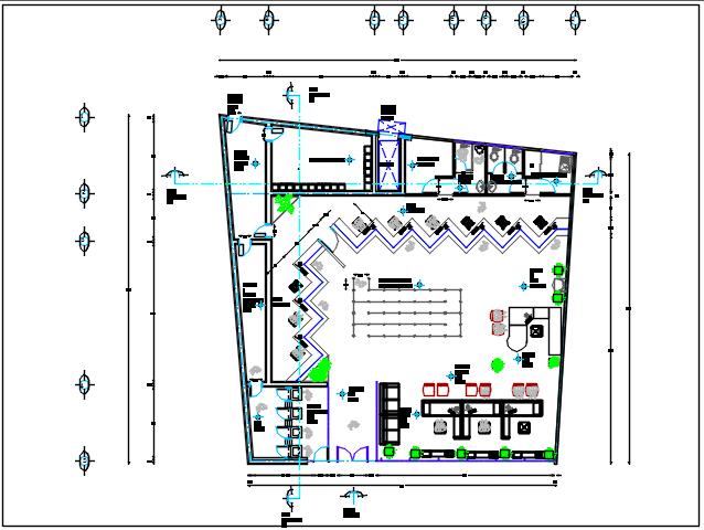 Office building center line plan detail dwg file