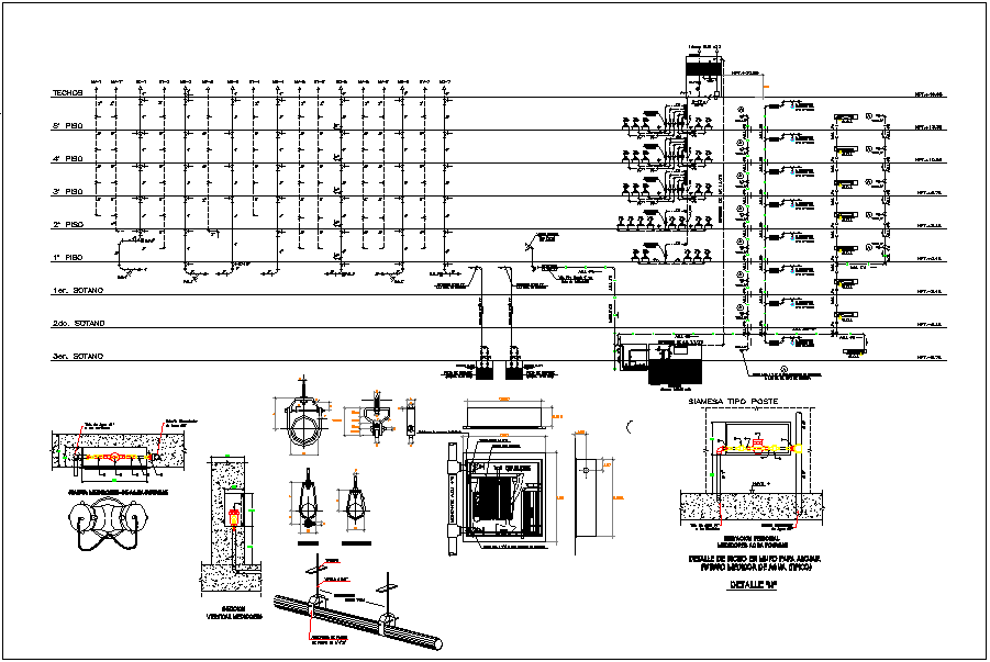 Office building water pipeline and plumbing connection detail dwg file