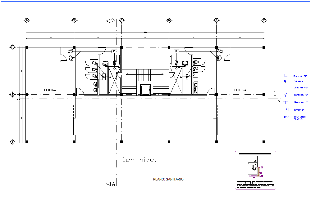 Office first floor plan with sanitary view dwg file