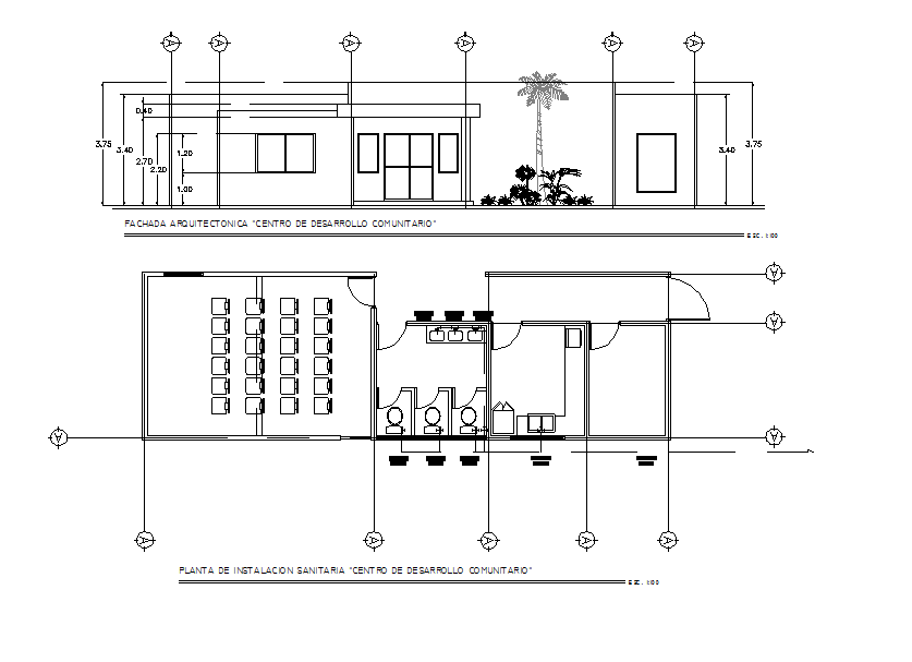 Office plan and elevation working plan detail dwg file