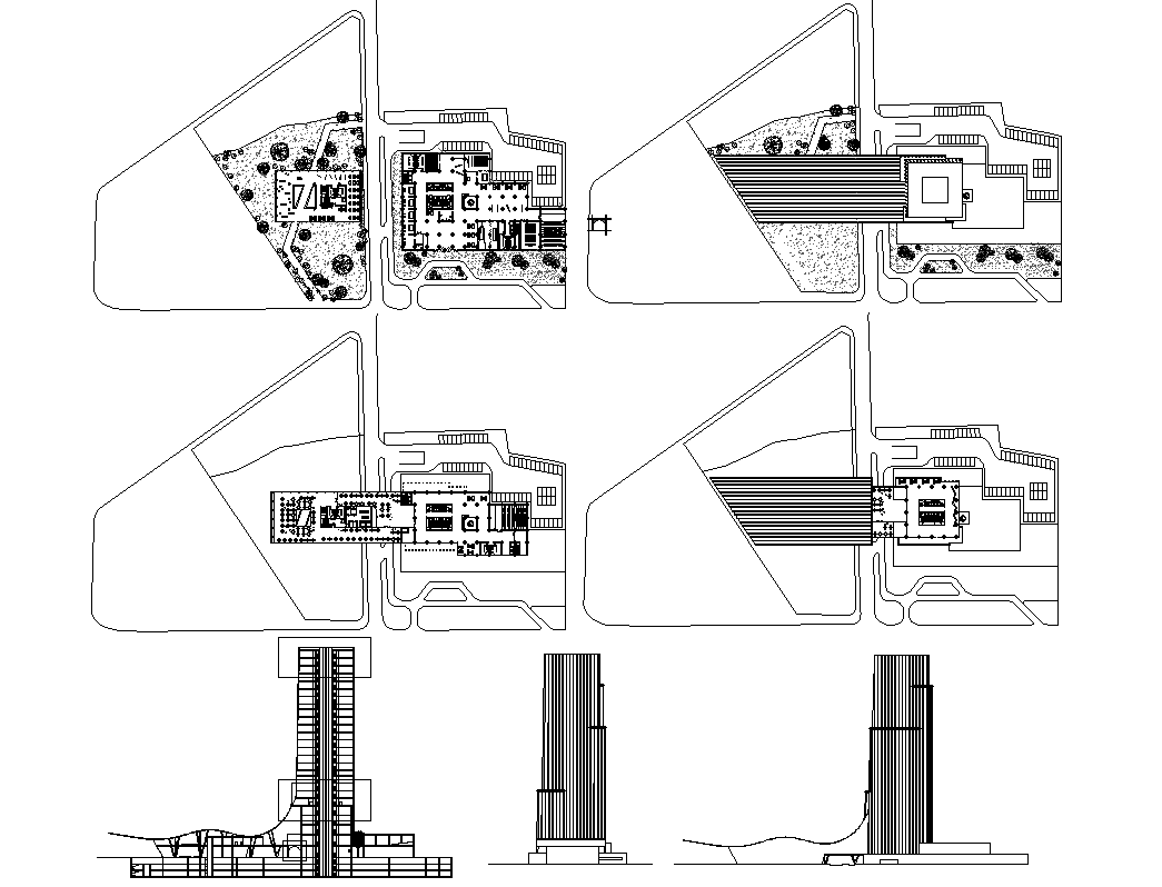 Office tower high rise building plan, site plan detail view dwg file