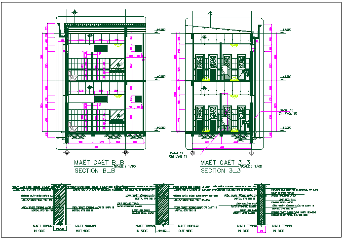 Office wash room section view detail dwg file