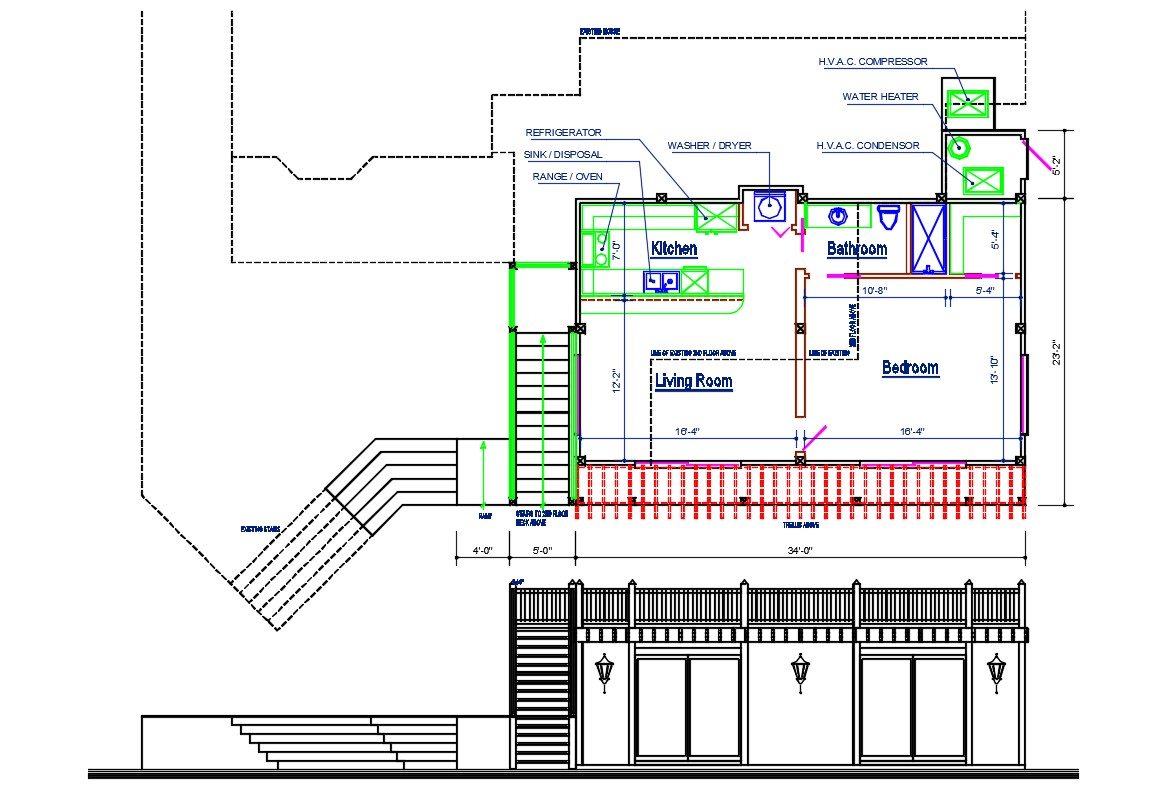 One BHK House Design Plan and Elevation CAD File