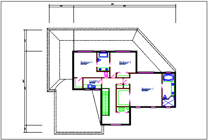 One BHK plan details dwg file