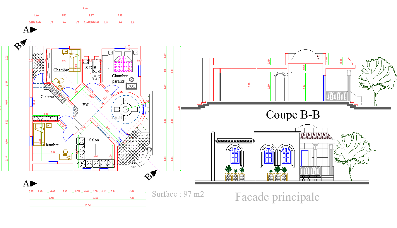 One Story House plan dwg file