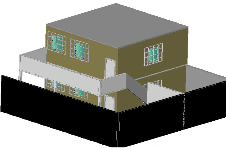 One family house 3 D plan detail dwg file