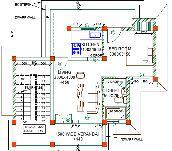 One level single family house architecture layout dwg file