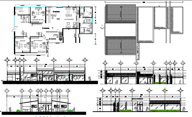 One story administrative building auto-cad details dwg file