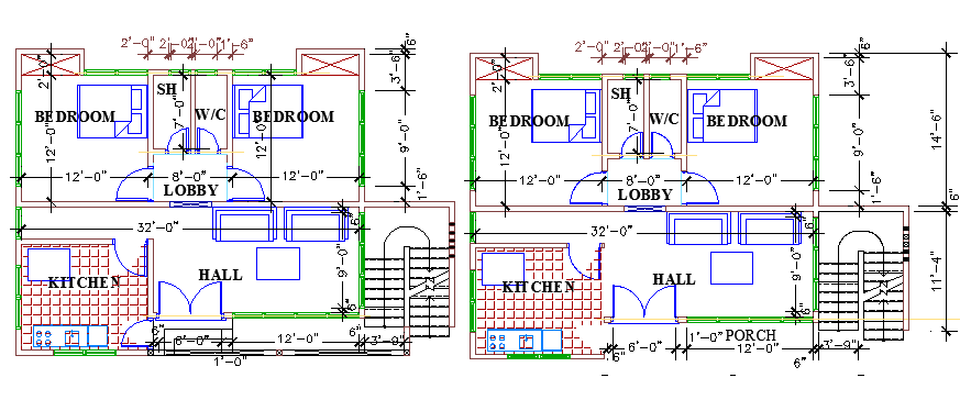 One story two flooring housing building floor plan dwg file