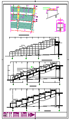 Out door stair case section detail design drawing