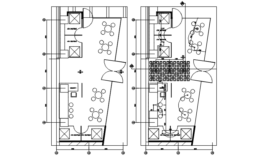 Outdoor cafe layout in dwg file