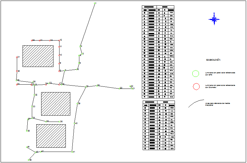 Outdoor lighting project view with its symbol dwg file