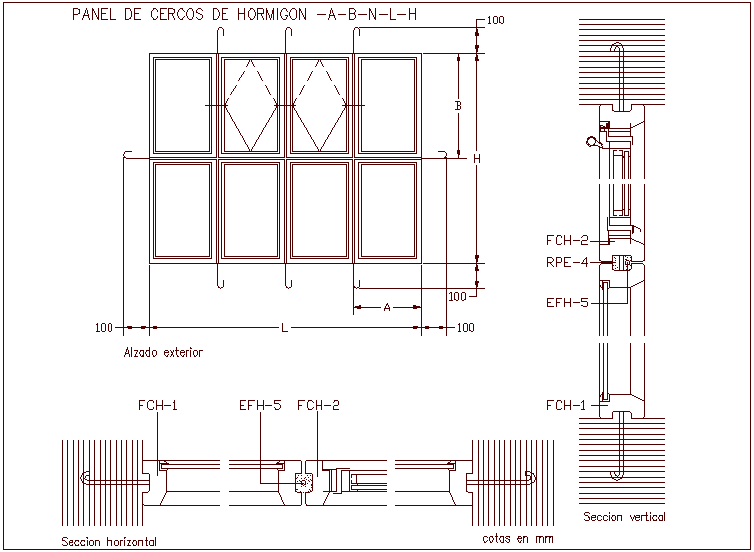 Panel door design of concrete fence design with sectional view dwg file