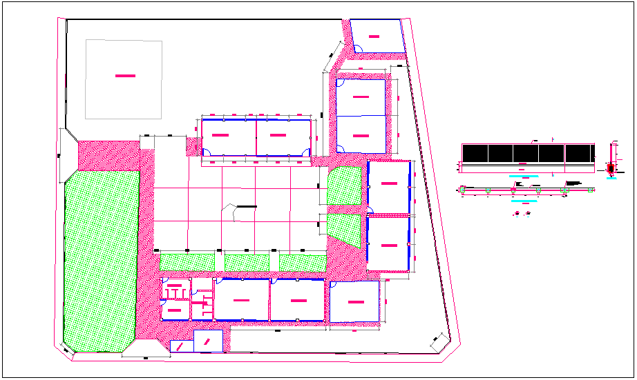 Parametric plan,elevation and section view of classroom view dwg file