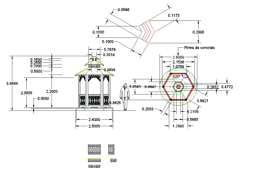 Park shade and seating roof detail plan dwg file