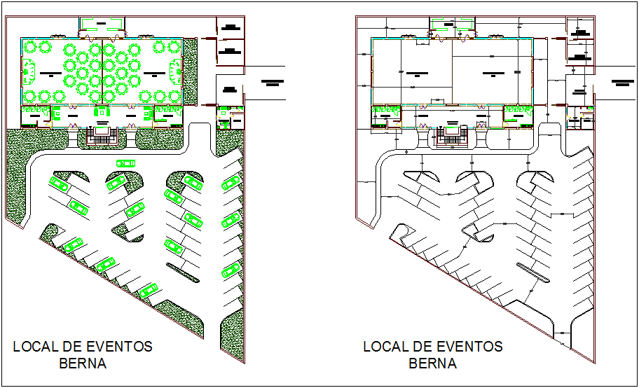 Party and event area floor plan view dwg file