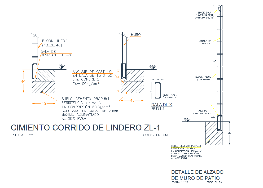 Patio architecture detail in autocad dwg files