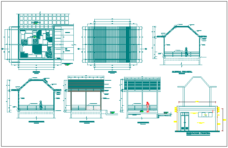 Pergola sectional and elevation details dwg file