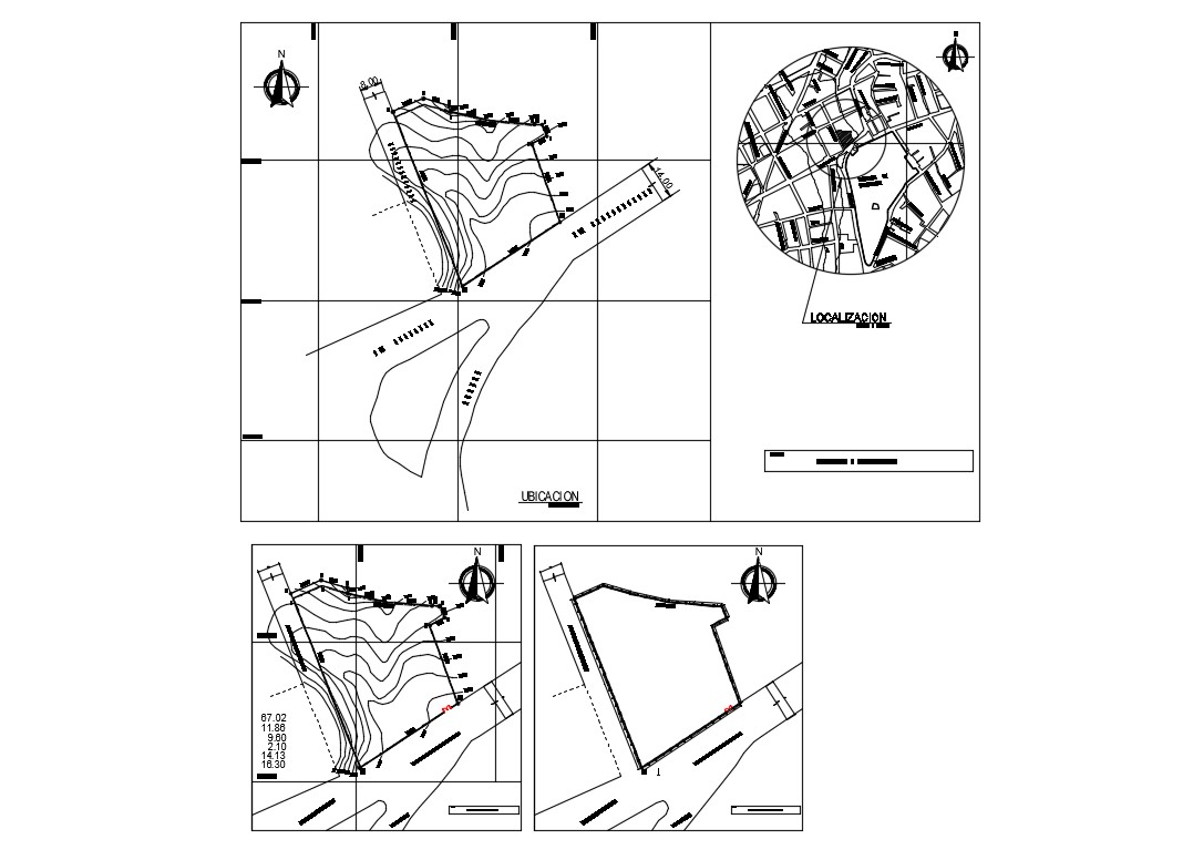 Perimeter fence section, installation and location map details dwg file