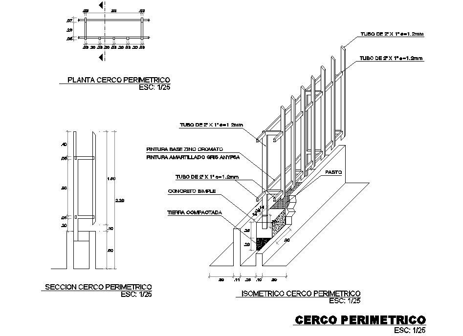 Perimeter plan and section detail dwg file