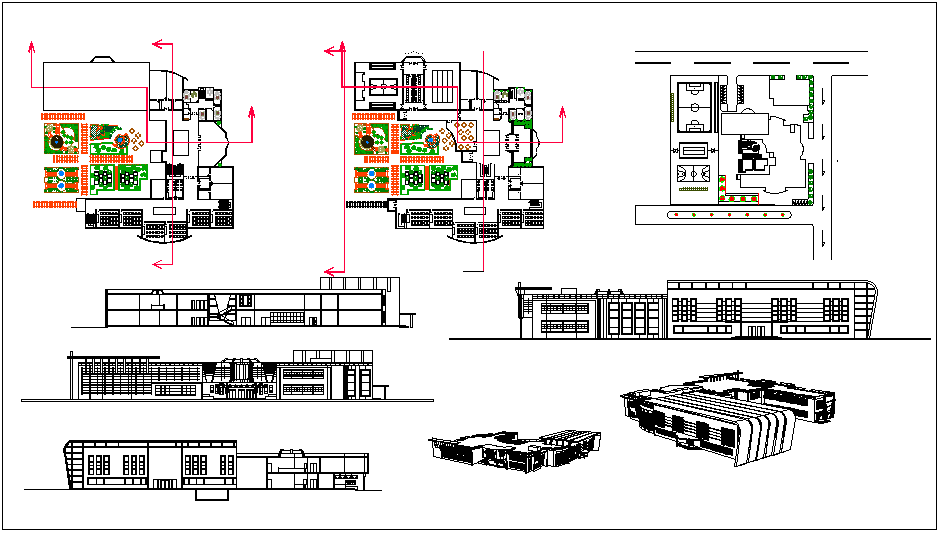 Perspective and isometric view with plan and elevation of school design dwg file