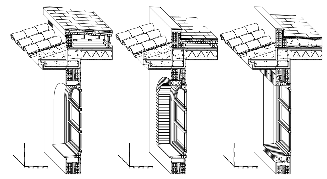 Perspective section facade Dwg file