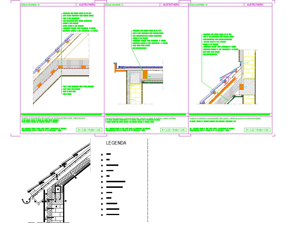 Pitched roofs drawing and detail in cad files