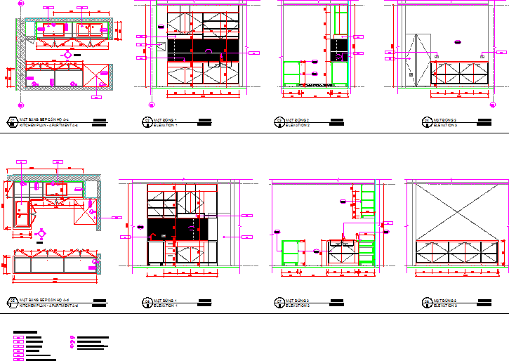 Plan , elevation , sectional details of kitchen