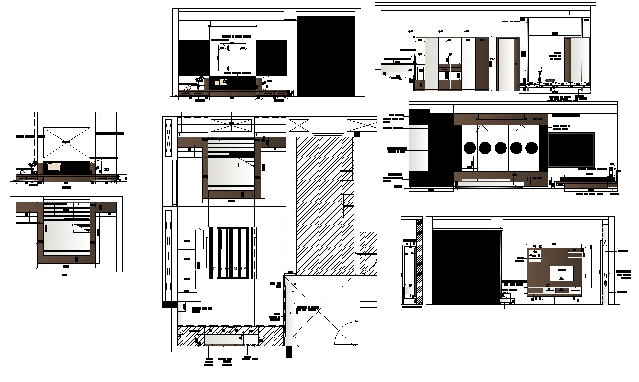 Plan and elevation of bedroom interior 2d view cad block ...