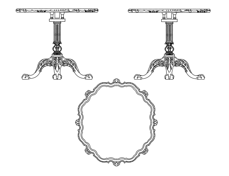Plan and elevation of designer table view with furniture view dwg file