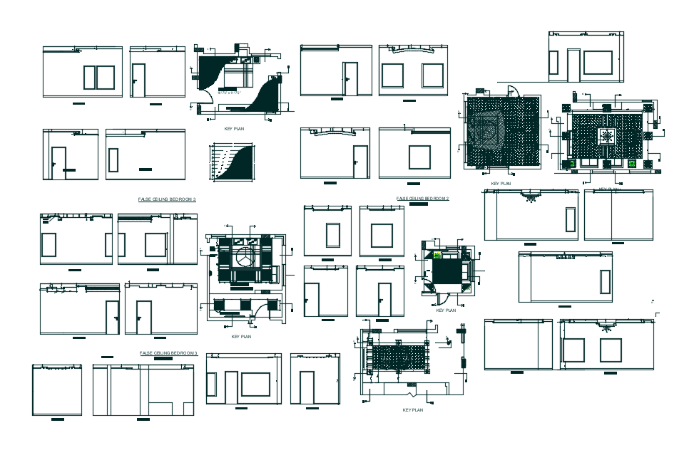 Plan and elevation of false ceiling view dwg file