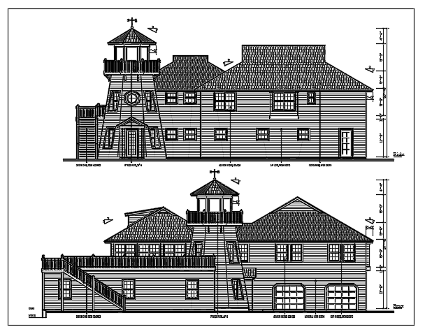 Plan and exterior elevation of a bunglow ground plus one floor dwg file