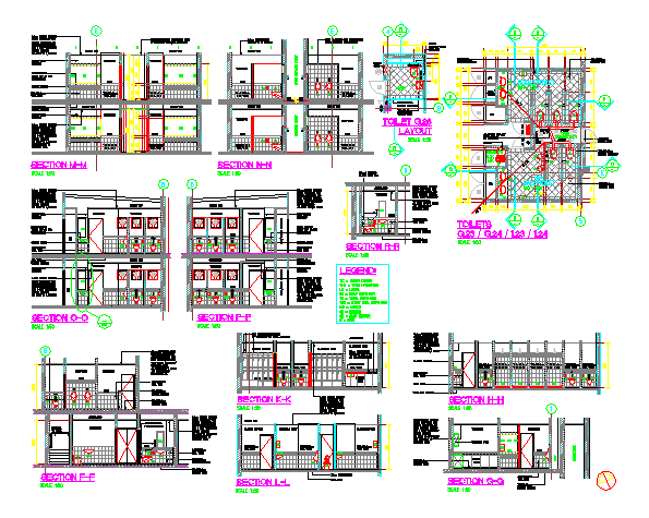 Plan and section design drawing of Public Bathroom Construction design drawing
