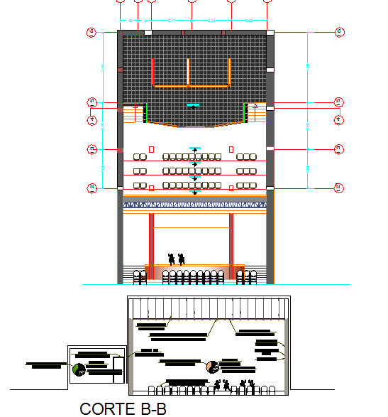 Plan and section detail dwg file