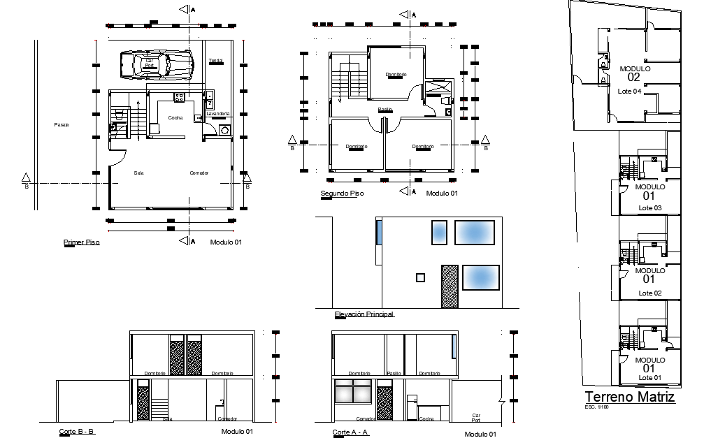 Plan and section living place detail dwg file