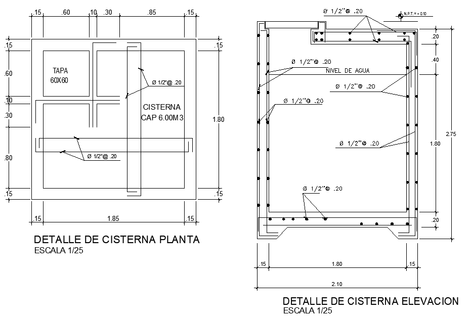 Plan cistern detail dwg file