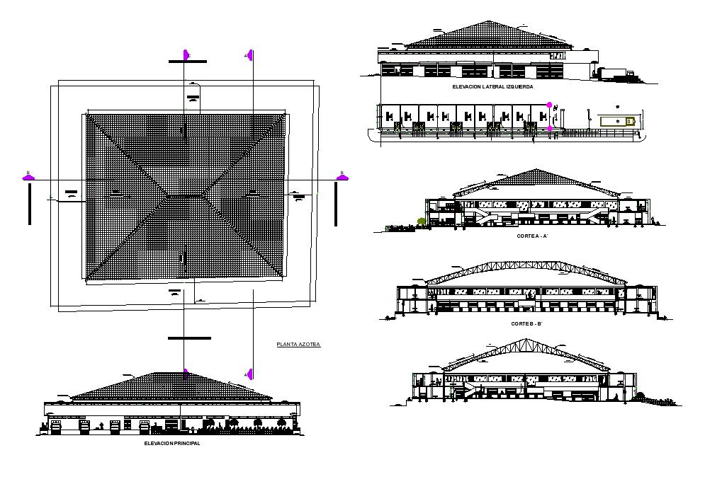 Plan market architecture dwg file