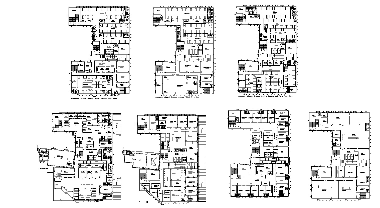 Plan of Multistorey Hospital with a different section in autocad