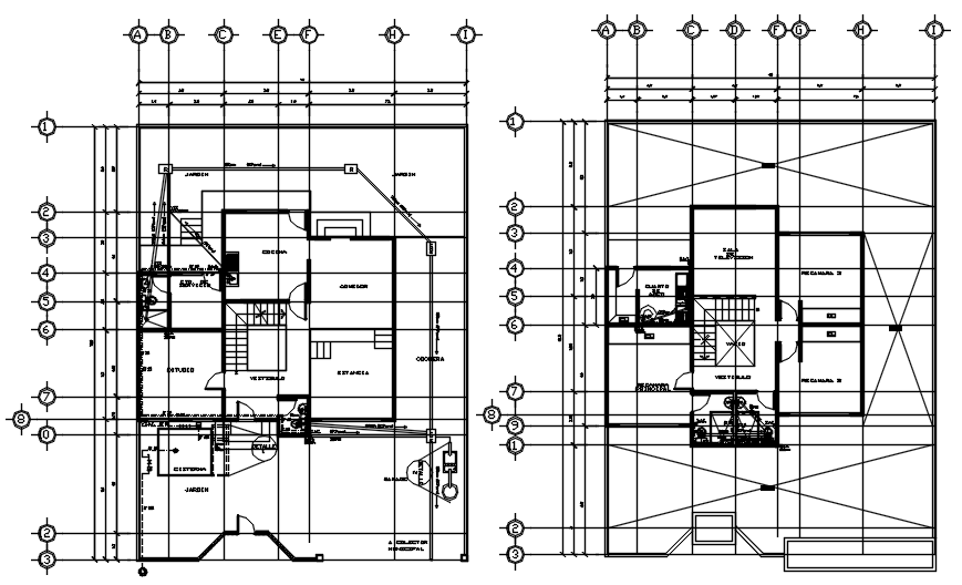 Plan of bungalow 15.00mtr x 19.08mtr with detail dimension in AutoCAD