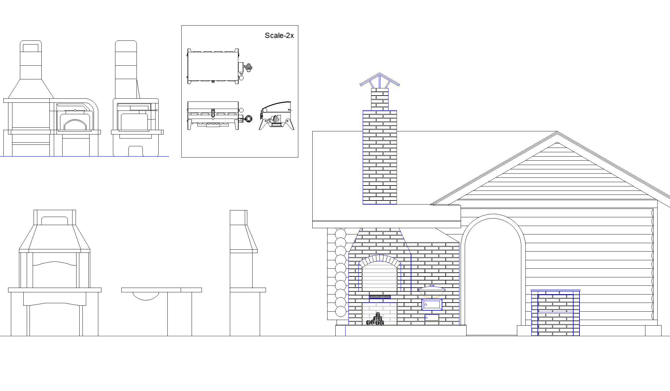 Plan of detailed barbecue detail dwg file.