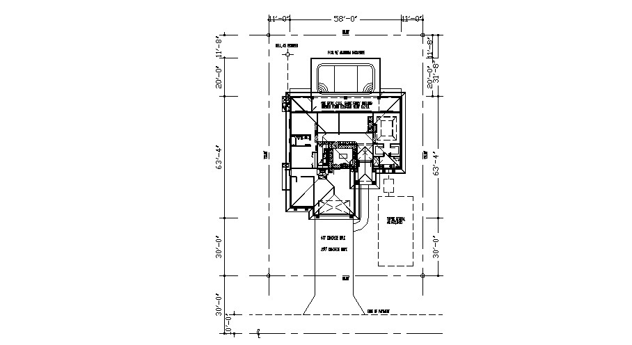 Plan of residential house 80' x 125' with detail dimension in dwg file