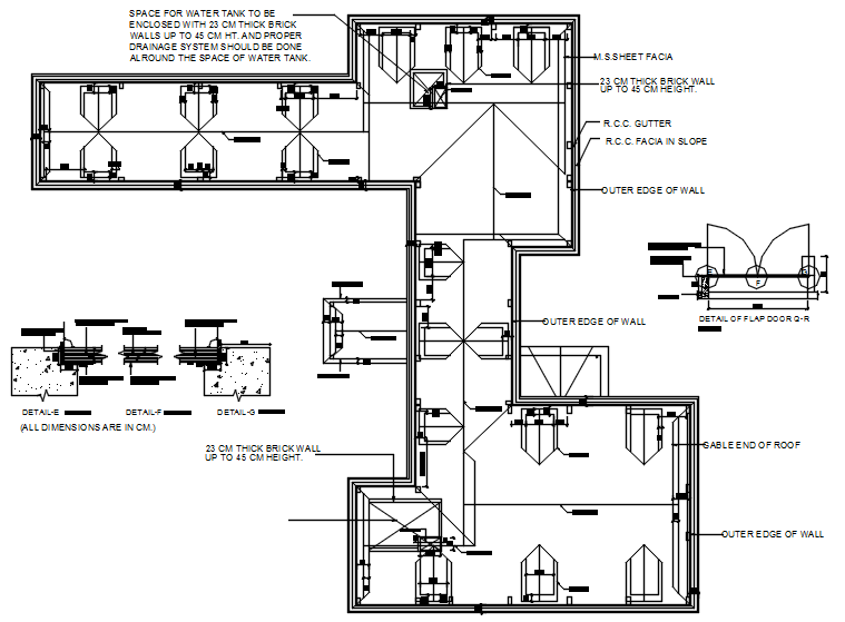Plan of school design with detail dimension in dwg file