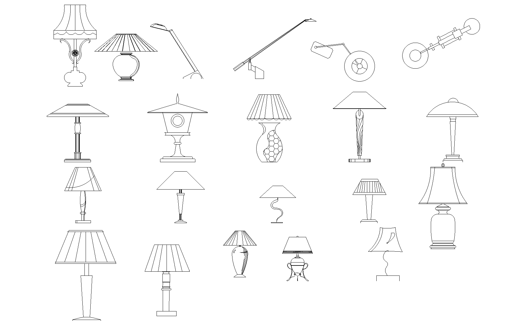 Plan of table lamps detail dwg file.