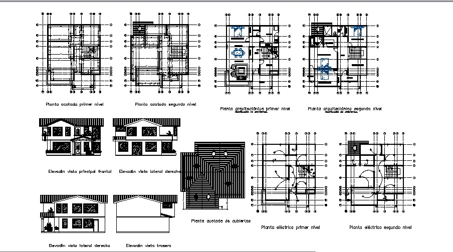 Plan of the bungalow with detail dimension in dwg file