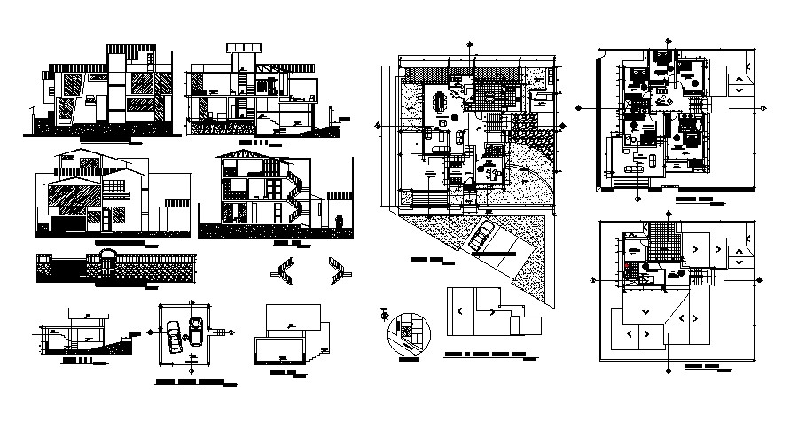Plan of the bungalow with section and elevation in dwg file