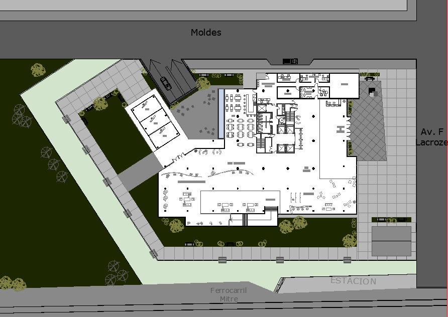 Planning Town hall center detail dwg file